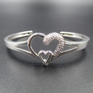 Vintage Sterling Diamond Hearts Cuff Bracelet